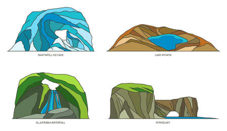 Iceland natural landmarks and mountain rocks, set Ilustrace
