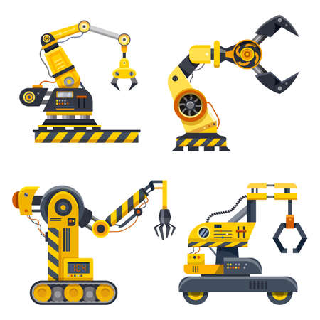 Set of machine hands, industry vector icons Ilustrace