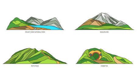New Zealand landmarks, parks and mountains set