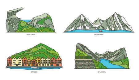Norway natural landmarks or landscape icons set