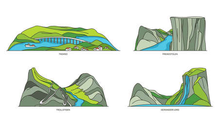 Set of Norway natural landmarks, fjords landscape Ilustrace