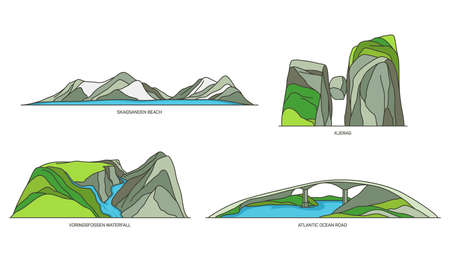 Set of Norway travel icons, natural landscapes