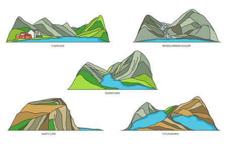 Norway natural landmarks, travel icons, vector set 일러스트