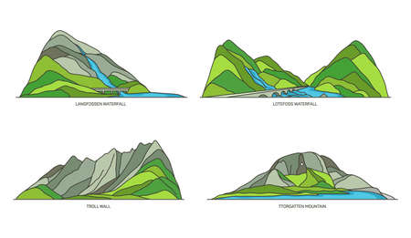 Norway natural landmarks, travel icons, vector set Ilustrace