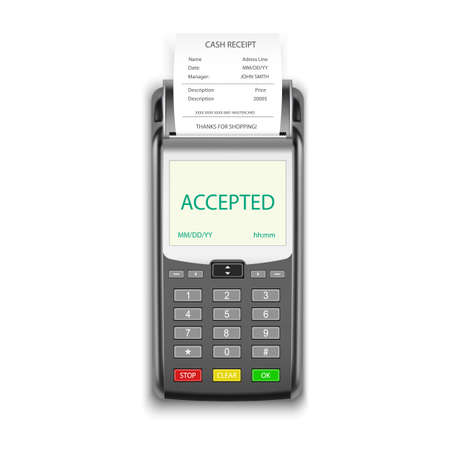 Credit card payment, POS terminal with pay receipt Ilustrace