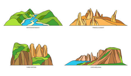 Set of Australia nature landmarks, national parks 矢量图像