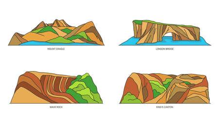 Set of Australia nature landmarks, travel icons