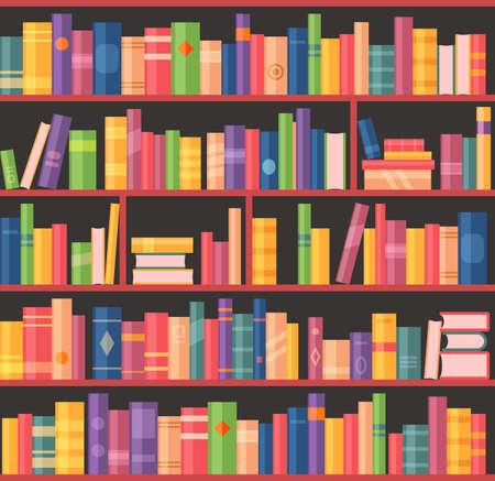 Bookcase or bookshelf, books library or bookstore