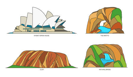 Set of Australia travel landmarks, national parks