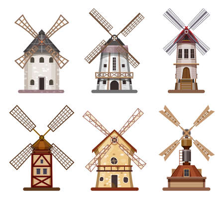 Mill or windmill wooden wheat and flour building