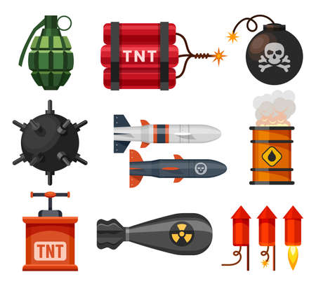 Explosives, bomb, fuse ball, dynamite and grenades