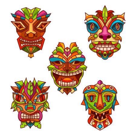Set of totem pole masks with tribal decoration 矢量图像