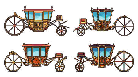 Medieval royal carriage icons set, retro coach