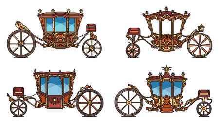 Royal wheel transport or vintage carriage set Illustration