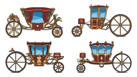 Set of Royal horse chariot or vintage carriage