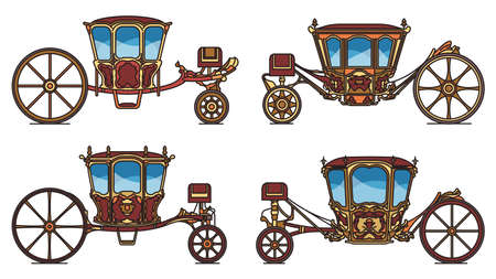 Wedding carriage set, outline retro royal chariot Ilustração
