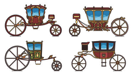 Set of dormeuse chariot or royal carriage