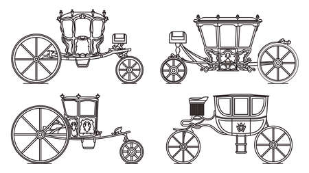 Outline set of dormeuse chariot or royal carriage