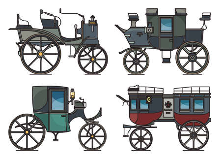 Closed and open XIX century electric automobile 矢量图像