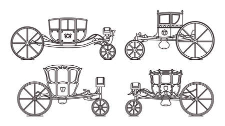 Outline king carriages or vintage chariote set 矢量图像
