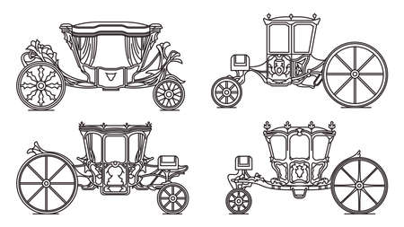 Outline set of Royal horse chariot, carriages