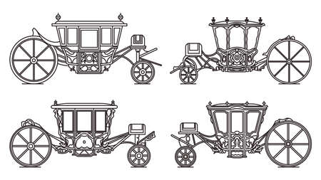 Outline medieval royal carriage icons, retro coach