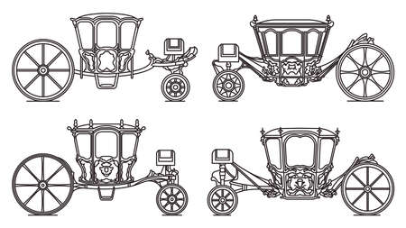 Wedding carriage set, outline retro royal chariot 矢量图像