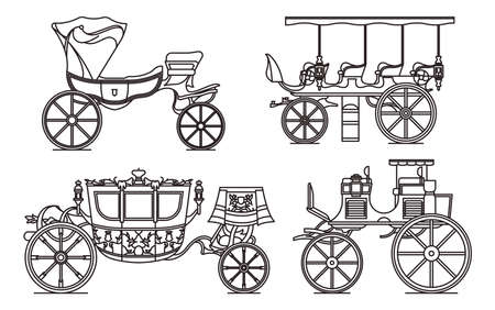 Outline set of classic cab of XIX century