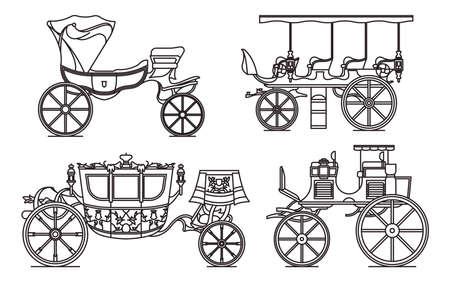 Outline set of classic cab of XIX century