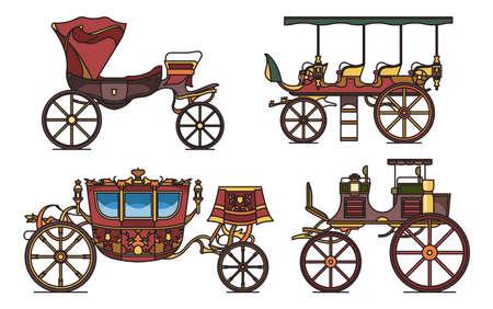 Set of classic cab of XIX century, retro wagon