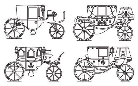 Outline set of vintage automobile or old car Illustration
