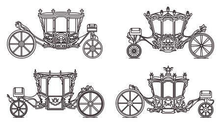 Outline royal wheel transport, vintage icon set