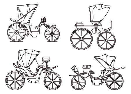 Outline carriages of XIX century. French chariot in line