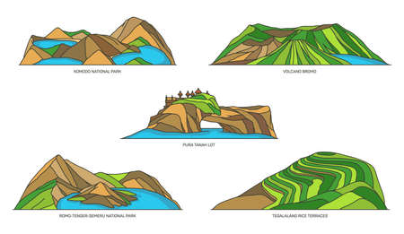 Indonesia landmarks, travel or nature line icons