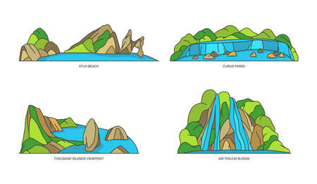 Indonesia landmarks, nature and travel flat icons 矢量图像