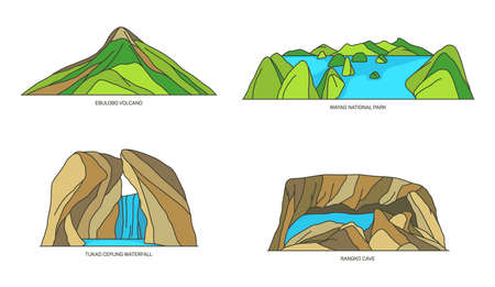 Set of Indonesia vector landscapes, flat icons