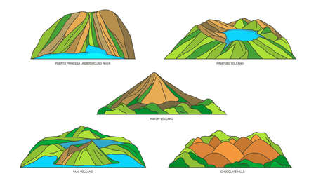 Philippines nature landmarks or travel icon set