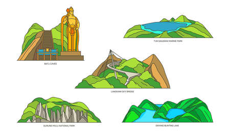 Malaysia linear landmarks, travel and nature icons