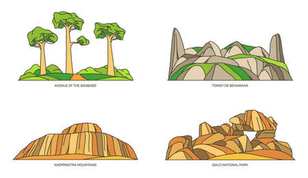 Madagascar landmarks or Africa natural icon set
