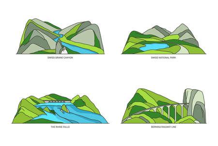 Switzerland landmarks or Swiss linear icon set