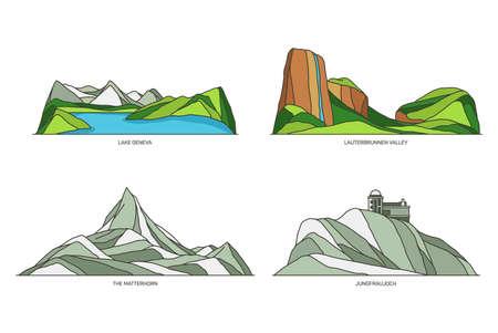 Switzerland landmarks or landscape and travel set