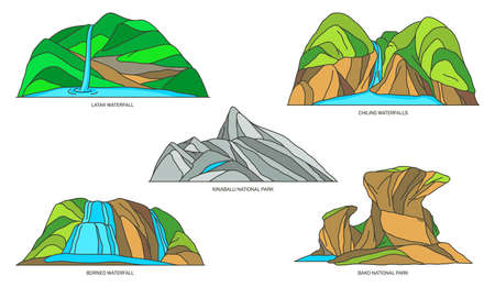 Set of Malaysia natural landmarks, nature icons 矢量图像