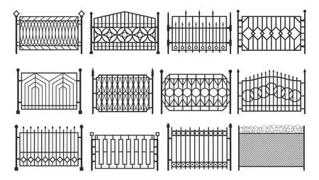 Fence, metal gates, iron steel barriers, fencing 矢量图像