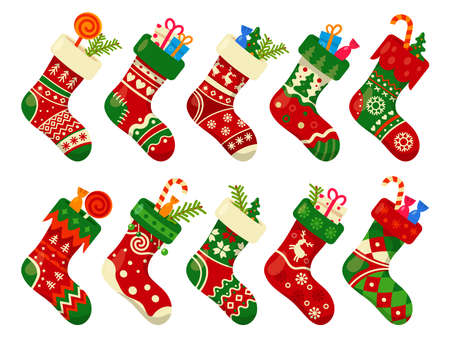 Christmas socks and gifts, New Year Xmas stockings