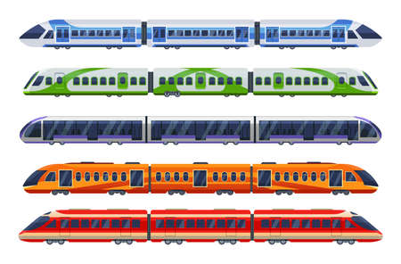 Set of railway transport, trains, subways, metro