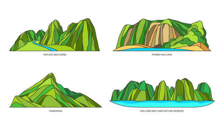 Vietnam landmarks or landscape, mountains icon set