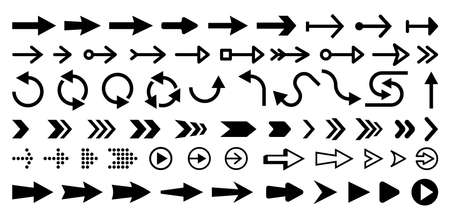 Set of isolated next or right move arrows