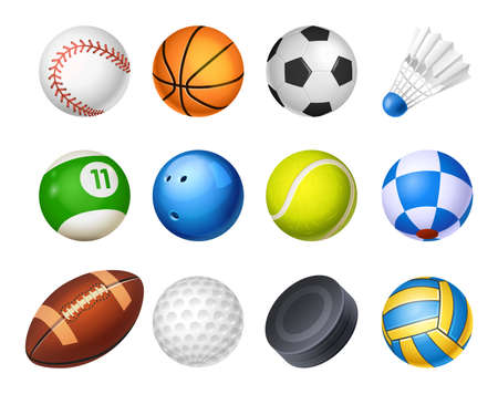 Set of isolated realistic vector sport balls Vettoriali