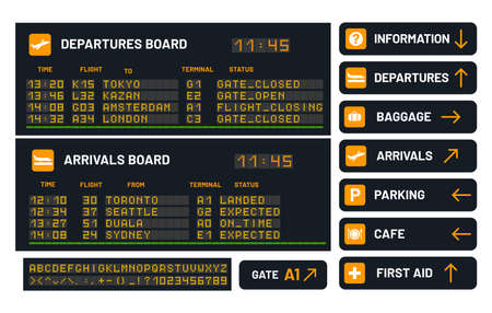 Airport vector board set for announcing flight