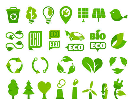 Set of vector eco icons or isolated ecology signs Vettoriali